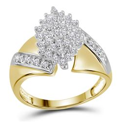 1/2 CTW Womens Round Diamond Cluster Ring 14kt Yellow Gold - REF-40F3W