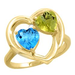 2.61 CTW Diamond, Swiss Blue Topaz & Lemon Quartz Ring 14K Yellow Gold - REF-33H5M
