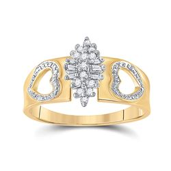 1/8 CTW Womens Round Diamond Double Heart Cluster Ring 10kt Yellow Gold - REF-20R5X