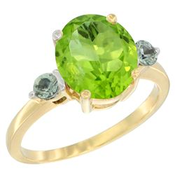 3.02 CTW Peridot & Green Sapphire Ring 14K Yellow Gold - REF-36N3Y