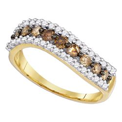 3/4 CTW Womens Round Brown Diamond Contoured Band Ring 10kt Yellow Gold - REF-29W9H