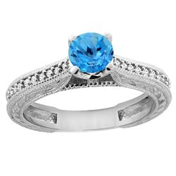 0.71 CTW Swiss Blue Topaz & Diamond Ring 14K White Gold - REF-53X2M