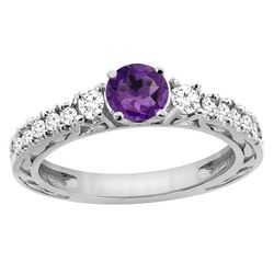 1.10 CTW Amethyst & Diamond Ring 14K White Gold - REF-79Y3V