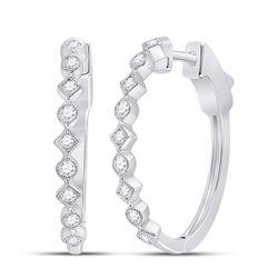 1/2 CTW Womens Round Diamond Milgrain Square Dot Hoop Earrings 14kt White Gold - REF-81F7W