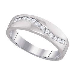 1/4 CTW Mens Round Diamond Wedding Band Ring 10kt White Gold - REF-26A5M