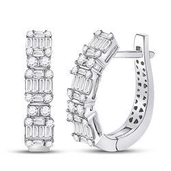 1 CTW Womens Baguette Diamond Fashion Hoop Earrings 14kt White Gold - REF-122H6R