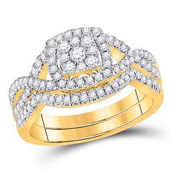 5/8 CTW Round Diamond Bridal Wedding Ring 10kt Yellow Gold - REF-78T5V