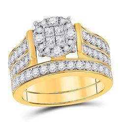 1 & 1/3 CTW Princess Diamond Bridal Wedding Ring 14kt Yellow Gold - REF-153W3H