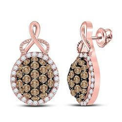 1 CTW Womens Round Brown Diamond Cluster Earrings 14kt Rose Gold - REF-68W2H