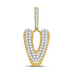 1 CTW Mens Round Diamond V Letter Charm Pendant 10kt Yellow Gold - REF-68N2A