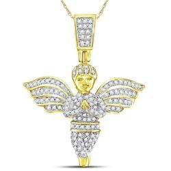 3/8 CTW Mens Round Angel Diamond Charm Pendant 10kt Yellow Gold - REF-44X4T