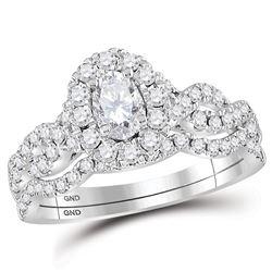 1 CTW Oval Diamond Bridal Wedding Ring 14kt White Gold - REF-129V5Y