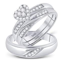 1/3 CTW His Hers Round Diamond Heart Matching Wedding Set 10kt White Gold - REF-47M6F