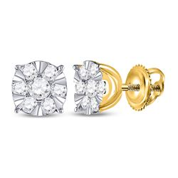 1/2 CTW Womens Round Diamond Fashion Cluster Earrings 14kt Yellow Gold - REF-46M3F