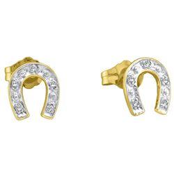 1/20 CTW Womens Round Diamond Horseshoe Earrings 10kt Yellow Gold - REF-10R9X