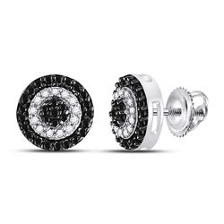 1/4 CTW Womens Round Black Color Enhanced Diamond Circle Cluster Earrings 10kt White Gold - REF-21R8