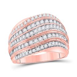 1 CTW Womens Round Diamond Fashion Band Ring 14kt Two-tone Gold - REF-115F8W