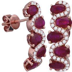 2 & 7/8 CTW Womens Oval Ruby Diamond Hoop Earrings 18kt Rose Gold - REF-170Y5N