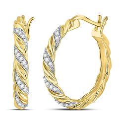 1/10 CTW Womens Round Diamond Spiral Stripe Hoop Earrings 10kt Yellow Gold - REF-24Y5N
