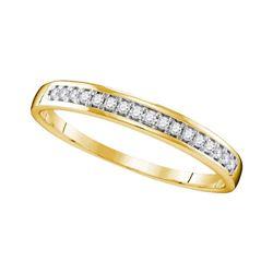 1/10 CTW Womens Round Diamond Wedding Band Ring 10kt Yellow Gold - REF-17M7F