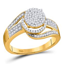 3/8 CTW Womens Round Diamond Cluster Ring 10kt Yellow Gold - REF-32W7H