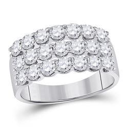 2 CTW Womens Round Diamond Anniversary Band Ring 14kt White Gold - REF-177W3H