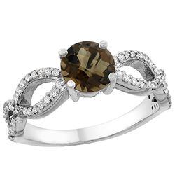 1.25 CTW Quartz & Diamond Ring 10K White Gold - REF-49H8M