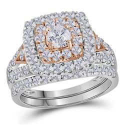 2 CTW Round Diamond Halo Bridal Wedding Ring 14kt Two-tone Gold - REF-180M7F