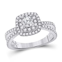 1 CTW Round Diamond Solitaire Bridal Wedding Engagement Ring 14kt White Gold - REF-163F5W