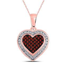 1/8 CTW Womens Round Red Color Enhanced Diamond Heart Pendant 10kt Rose Gold - REF-16M4F