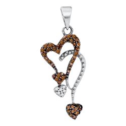 1/5 CTW Womens Round Brown Diamond Double Heart Droplet Pendant 10kt White Gold - REF-10H9R