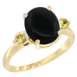 1.79 CTW Onyx & Yellow Sapphire Ring 10K Yellow Gold - REF-22Y4V
