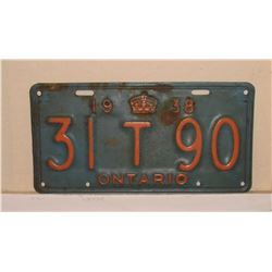 Antique Canada Ontario 1938 metal licence original colours - couleurs originales Ontario plaque 1938