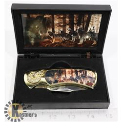 DECORATIVE WOLF KNIFE IN ORIGINAL BOX