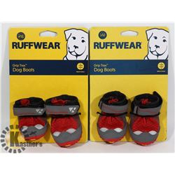 TWO PAIRS OF RUFFWEAR GRIP TREX DOG BOOTS