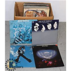 BOX OF VINTAGE ROCK LP RECORDS 33 RPM