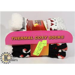 2PK COZY LADIES HEAT WAVE SLIPPERS SOCKS