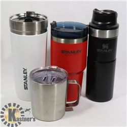 LOT OF 3 STANLEY THERMOS AND EDDIE BAUER SS CUP