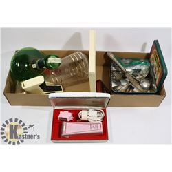 VINTAGE TIN OF ASSORTED SILVER PLATED CUTLERY AND