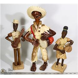 3 WOOD CARVED CUBAN STATUES