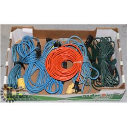 LARGE FLAT OF ASSORTED EXTENSION CORDS