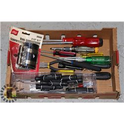 FLAT OF ASSORTED SCREWDRIVERS AND MORE