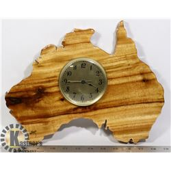 WOODEN AUSTRALIA SHAPE WALL CLOCK