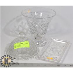 CRYSTAL LIDDED BUTTER DISH TRAY AND VASE