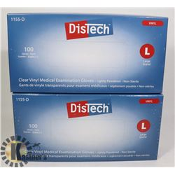 TWO BOXES OF DISTECH CLEAR VINYL MEDICAL