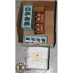 BOX OF ASSORTED CANDLES AND STAND