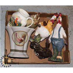 FLAT OF ROOSTER/ CHICKEN THEME HOME DECOR