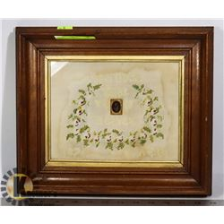 ANTIQUE 1876 FRAMED EMBROIDERY PICTURE