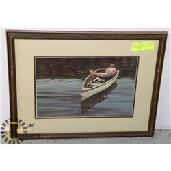 "UNTITLED ""BOATING AND FLUTE"" LEN GIBBS PRINT"