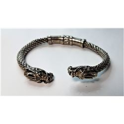 9)  SILVER TONE WRAPPED WIRE BANGLE